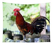 Crowing Red Junglefowl Rooster Tapestry