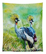 Crowned Cranes Tapestry