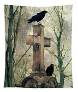 Urban Graveyard Crows Tapestry