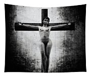 Crucifix In Black And White II Tapestry