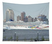 Cruise Ship On The Hudson Tapestry