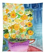 Cup Of Yellow Flowers- Abstract Floral Painting Tapestry