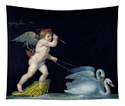 Cupid Being Led By A Pair Of Swans Tapestry