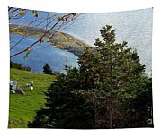 Curious Sheep In A Grassy Meadow Tapestry