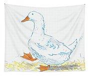 Cute Duck Cartoon Tapestry