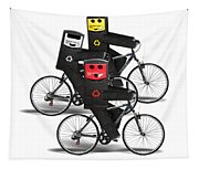 Cycling Recycle Bins Tapestry