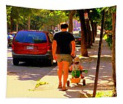 Daddy's Little Buddy Perfect Day Wagon Ride Montreal Neighborhood City Scene Art Carole Spandau Tapestry