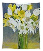 Daffodils And White Tulips In An Octagonal Glass Vase Tapestry