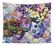 Daffodils Tulips And Iris In A Jacobean Blue And White Jug With Sanderson Fabric And Primroses Tapestry