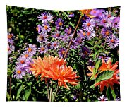 Dahlias And Asters Tapestry