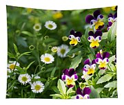 Daisy And Pansy Mix Tapestry
