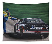 Dale Earnhardt Wins Daytona 500-pit Road Hand Shake Tapestry