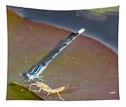Damselfly With A Helper Tapestry