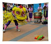 Dance Troupe Performs Chinese Lion Dance Singapore Tapestry
