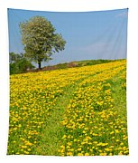 Dandelion Meadow And Alone Tree  Tapestry