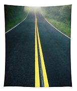 Dark Foggy Country Road Tapestry