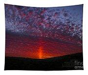 Dark Red Sunset Tapestry
