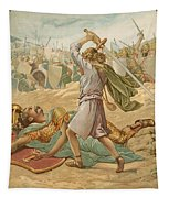 David About To Slay Goliath Tapestry