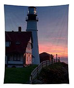 Dawn At Portland Lighthouse Tapestry