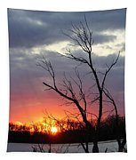 Dead Tree At Sunset Tapestry