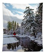 December Afternoon At The Red Boathouse Tapestry