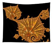 Decorative Golden Floral Fractal Leaves Tapestry