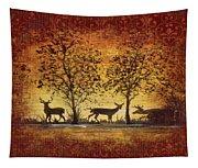 Deer At Sunset On Damask Tapestry