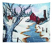 Deer At The Grist Mill Tapestry