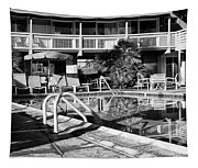 Del Marcos Pool Bw Palm Springs Tapestry