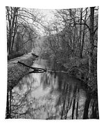 Delaware Canal In Black And White Tapestry