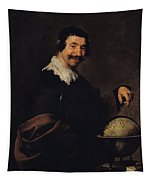 Democritus, Or The Man With A Globe Oil On Canvas Tapestry