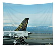 Denver Airport With Rockies In Background Tapestry