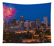 Denver Skyline Fireworks Tapestry