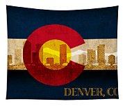 Denver Skyline Silhouette Of Colorado State Flag Canvas Tapestry