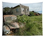 Derelict Morris And Old Truck On An Abandoned Farm Tapestry
