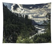 Desaturated Mountainscape Tapestry