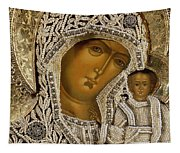 Detail Of An Icon Showing The Virgin Of Kazan By Yegor Petrov Tapestry