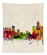 Detroit Michigan Skyline Tapestry by Michael Tompsett