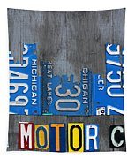 Detroit The Motor City Skyline License Plate Art On Gray Wood Boards  Tapestry by Design Turnpike