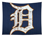 Detroit Tigers Baseball Old English D Logo License Plate Art Tapestry