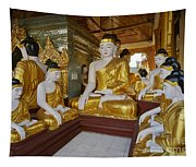 different sitting Buddhas in a circle in SHWEDAGON PAGODA Tapestry