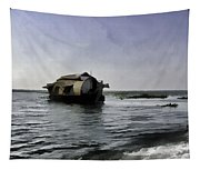Digital Oil Painting - A Houseboat Moving Placidly Through A Coastal Lagoon Tapestry