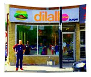 Dilallo Burger Notre Dame Ouest And Charlevoix  Montreal Art Urban Street Scenes Carole Spandau Tapestry