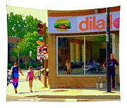 Dilallo Notre Dame Ouest And Charlevoix Sunny Street Montreal Urban City Scene Carole Spandau Tapestry