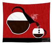 Diner Coffee Pot And Cup Red Pouring Tapestry