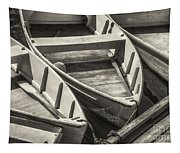 Dinghies Dockside Bw Tapestry