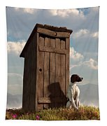 Dog Guarding An Outhouse Tapestry