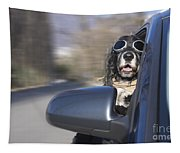 Dog In The Car Window Tapestry