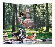 Dogs Lay At Her Feet Tapestry