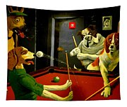 Dogs Playing Pool Wall Art Unknown Painter Tapestry